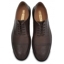 Brown Medallion Toe Dress Shoe, Hand Crafted Argentinian Leather Sole