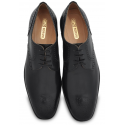 Black Full Cut Full Leather Oxfords with Grooved Sole for Grip