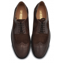 Black Medallion Toe Oxfords, Brogue Detail, Hand Crafted Leather Sole