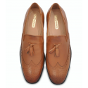 Tan Wingtip Burnished Leather Loafers, Argentinian Leather Sole