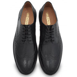 Black Wingtip Dress Shoe, Hand Crafted Argentinian Leather Sole
