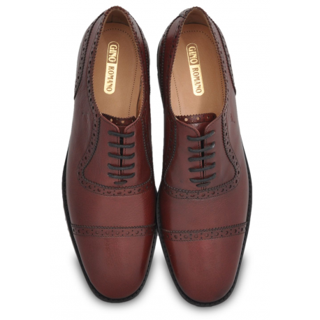 Gino Romano Oxford Shoes for Men - Full Grain Smooth Calf Leather and 100% Genuine Argentinian Leather + Rubber Combo Sole