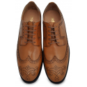 Tan Wingtip Brogue Dress Shoe, Argentinian Leather+Rubber Combo Sole