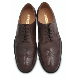 Brown Wingtip Dress Shoe, Hand Crafted Argentinian Leather Sole